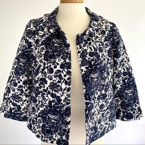 Talbots Navy Floral Swing Jacket 8P